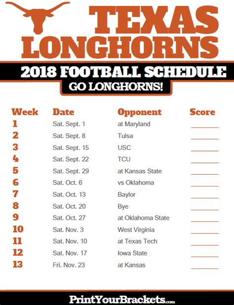 Section V Football Schedule by Longhorns 2018 Football Schedule Printable