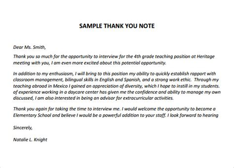 Thank You Note After Kindergarten Sle Thank You Notes For Teachers Documents Pdf Word Letter After Free