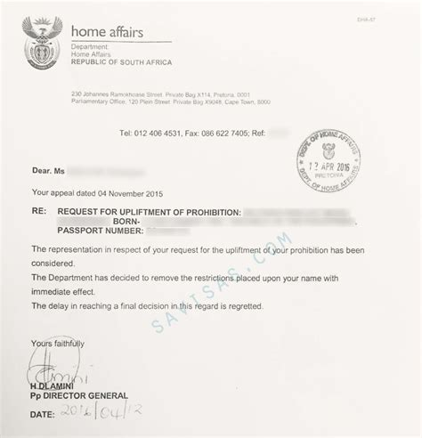 Confirmation Letter Permanent Residence South Africa Apply To A South Visa Ban Overturned Savisas