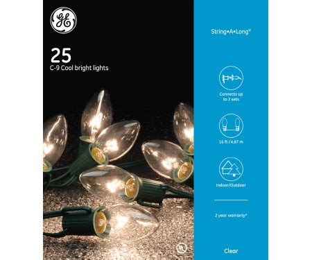 ge c 9 glow bright lights tis your season ge 25 count warm white c9 glow bright