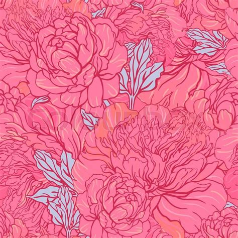 Upholstery Fabric Retro Elegant Seamless Color Peony Pattern On Gray Background