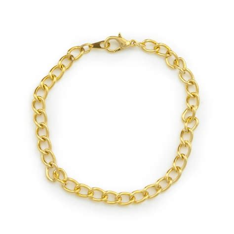 gold plated curb chain charm bracelet to make easy jewelry