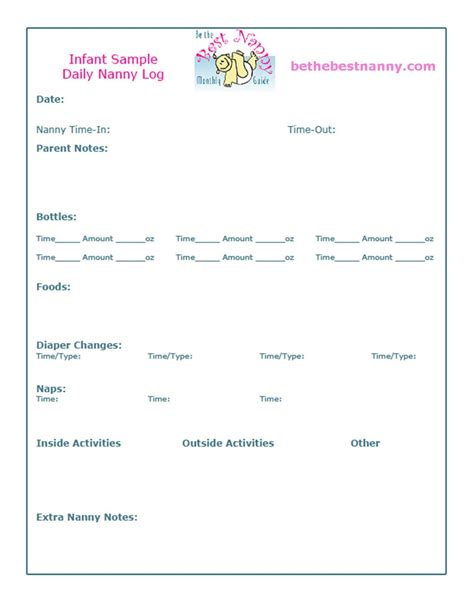 nanny daily log template nanny daily log sheets