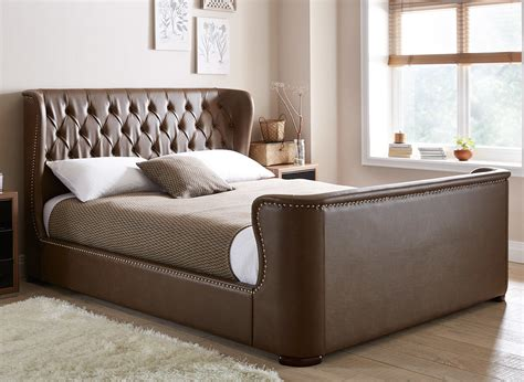 leather bed brussels brown bonded leather bed frame