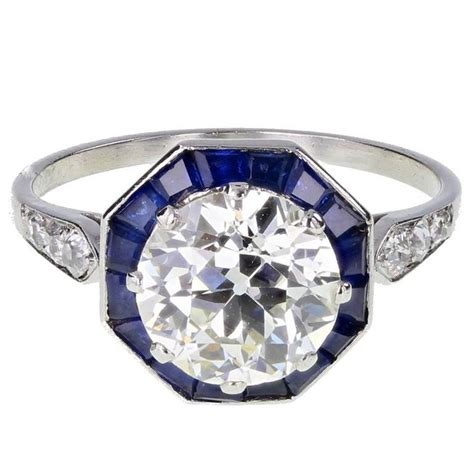 deco solitaire calibre cut sapphire platinum