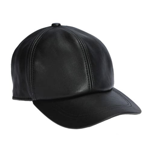 high quality sheepskin hat genuine winter leather hats baseball cap adjustable for black