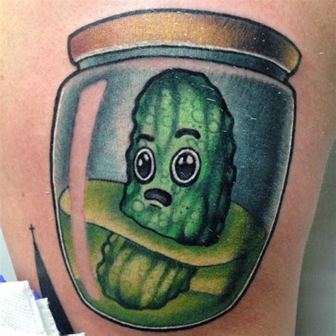 pickle tattoo pickle in a jar by andrew robinson tattoonow