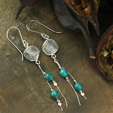 Artisan Handmade Jewelry - 925 sterling silver dangle earrings turquoise artisan