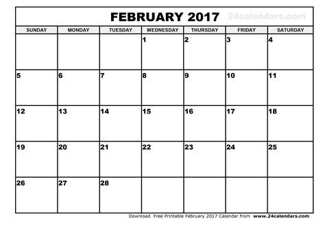 february calendar template february 2017 calendar printable
