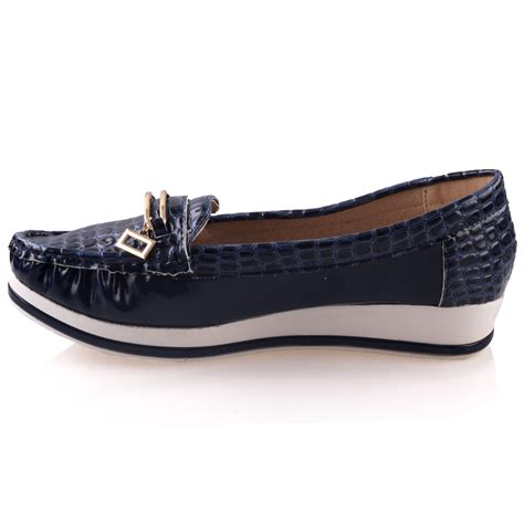 unze womens isa comfy flat casual shoes uk size 3 8 navy
