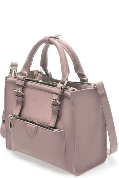 Zara Mini With Zips zara mini city bag with zip details in pink light pink lyst