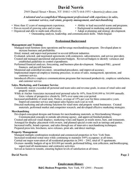 retail manager resume templates sles