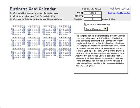 Business Card Template Excel by Print A Yearly Calendar On A Business Card