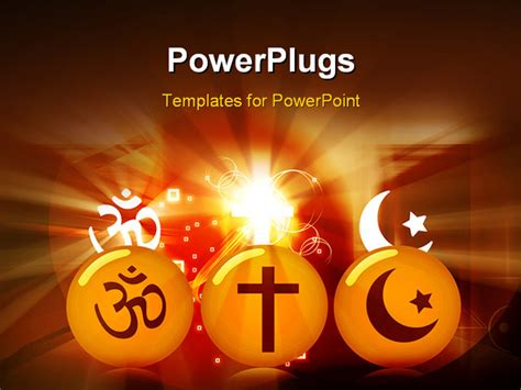 templates powerpoint religion illustration of three rounds with religious symbols
