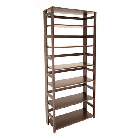 96 inch high bookcases flip flop 67 quot high folding bookcase mocha walnut