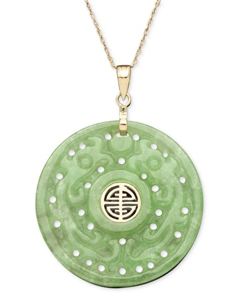 macy s 14k gold necklace jade carved circle pendant in