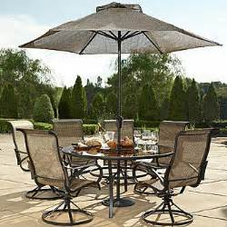 cameron 7 piece patio dining set with lazy susan seats 6 images