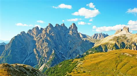 wallpaper grasslands mountains italy alps summer