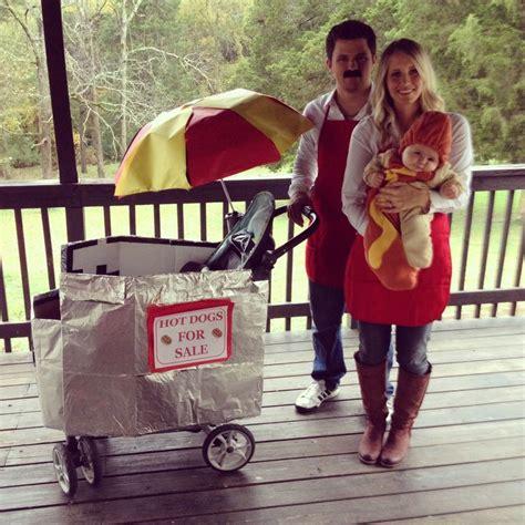 baby hot dog costume  mom  dad  hot dog cart