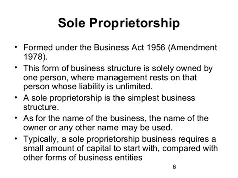 sole proprietorship is the simplest form business entities formations