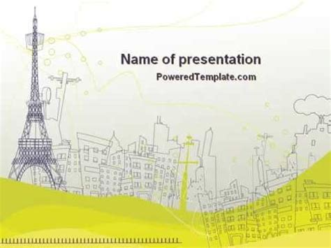 paris illustration powerpoint template by poweredtemplate