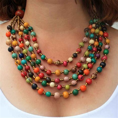 Every Color Beaded Necklace with Acai Seed and Matching Earrings