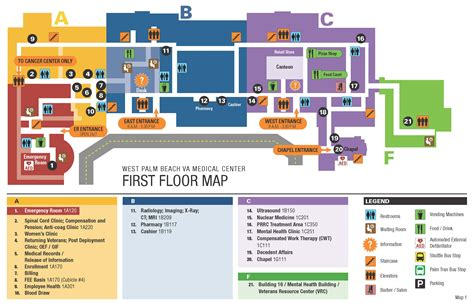 medical center floor plan facility map west palm beach va medical center