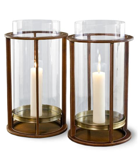 pair rustic tahoe modern leather hurricane candle holders