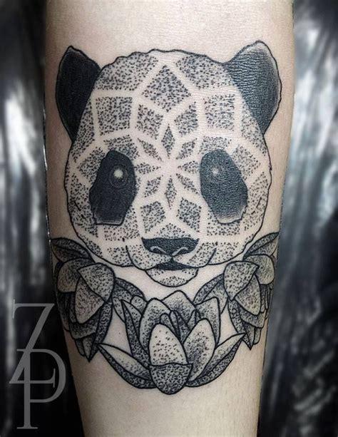 panda elephant tattoo cute dotwork panda by zach peacocks tattoos pinterest