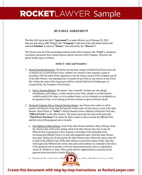 Contract Buyout Letter Buy Sell Agreement Form Sle Buy Sell Agreement Template