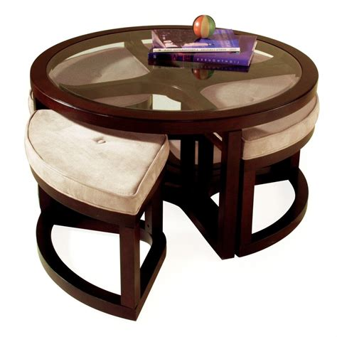ottoman with stools underneath small round coffee table modern round coffee table corbet