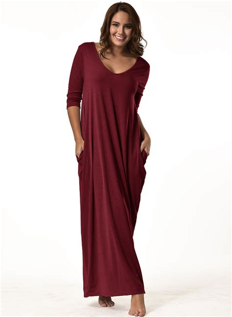 Sleeve V Neck Maxi Dress s solid color 3 4 sleeve v neck maxi dress with
