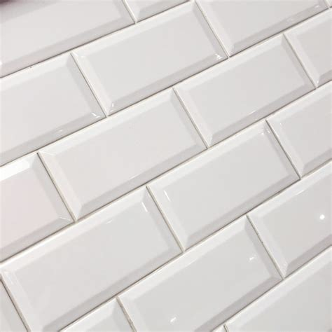 metro white gloss bevelled brick wall tile 10x20 cm backsplash