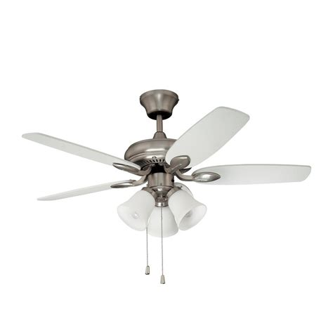 nickel ceiling fan with white blades shop kendal lighting cordova 42 in satin nickel indoor