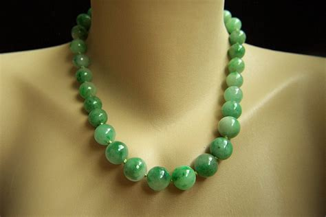 antique jade bead necklace spectacular vintage 14k gumps gump s large jadeite jade