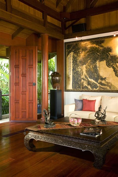 asian home decor an asian style living room with a stained wood
