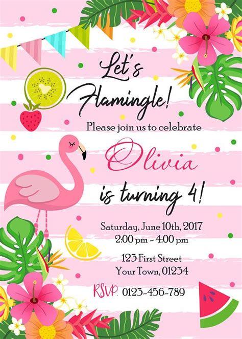 Flamingo Birthday Party Invitation Let S Flamingle Birthday Invitation Tropical Luau Hawaiian Flamingo Invitation Template Free