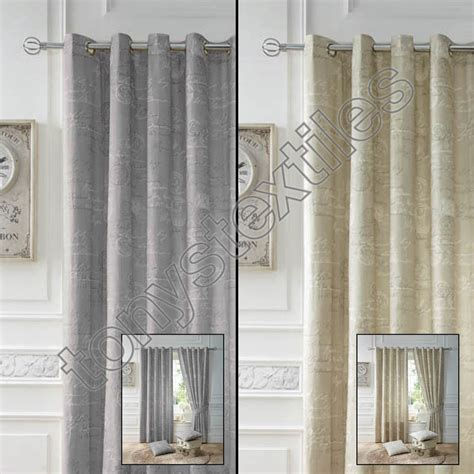 grey cream curtains pair of script chic lined eyelet ring top ready made