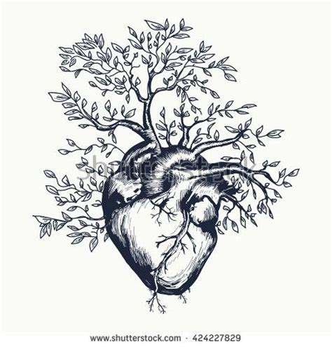 heart tree tattoo anatomical human from which the tree grows