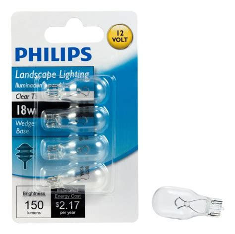 Philips Landscape Light Bulbs Philips 416024 Landscape Lighting 18 Watt T5 12 Volt Wedge Base Light Bulb 4 Pack