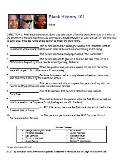 printable quiz about black history math worksheets 187 black history math worksheets