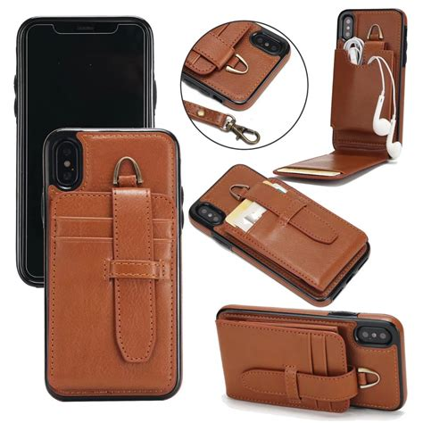 Luxury Wallet Flip Leather Iphone 10 X Casing Hp Kulit Premium luxury leather flip for iphone x wallet book cover 2 in 1 vertical flip for iphone x