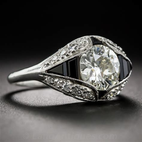 1 66 carat deco and onyx engagement ring