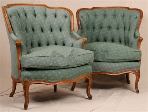 bergere armchair pair of french louis xv antique tufted barrel or wing back bergere arm chairs for sale