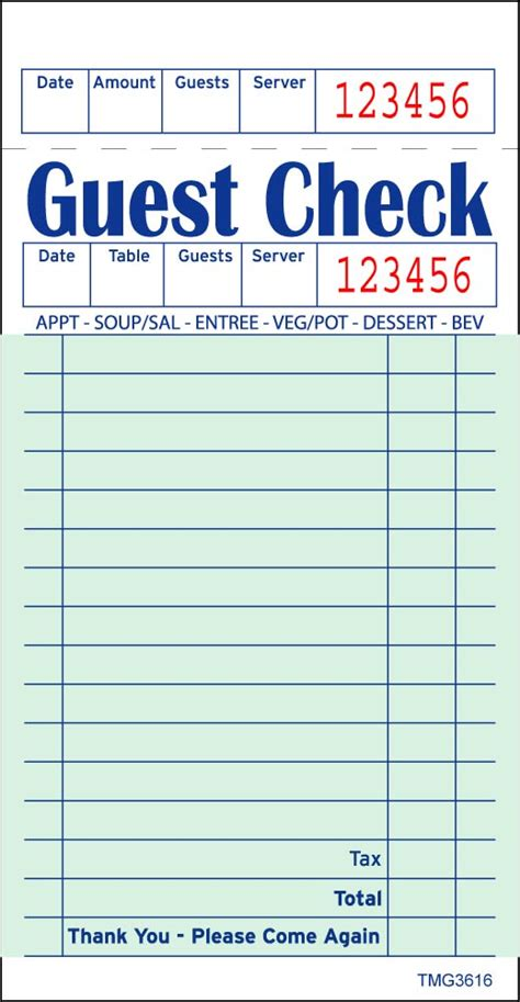 6 best images of printable guest checks for restaurants