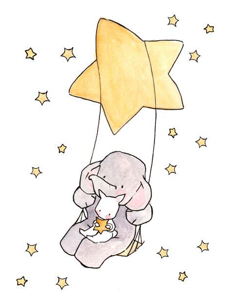 swinging on a star cartoon swinging stars and moonbeams nursery art illustration