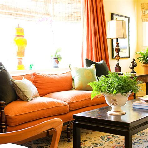 Orange Sofa Decorating Ideas by Fall Decorating Fresh Color Combinations The Inspired Room