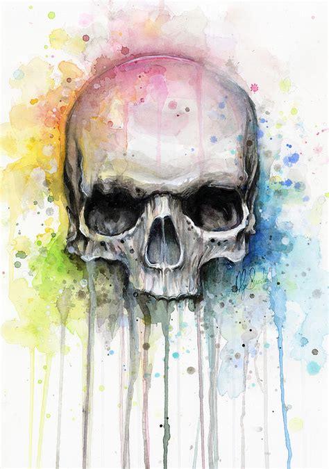 skull watercolor painting painting by olga shvartsur