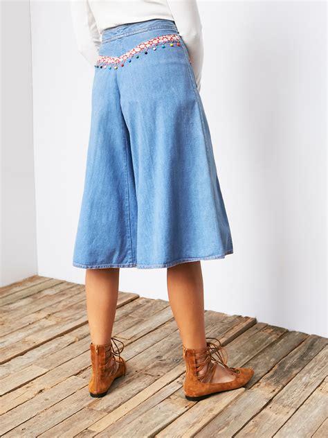 Vintage Denim Cullotes free vintage 1970s denim culottes in blue lyst