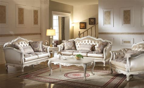 white sofa set living room chantelle traditional pearl white button tufted formal